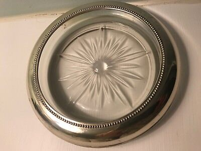 """VINTAGE FRANK M WHITING & Co STERLING SILVER LARGE WINE COASTER NUT DISH 6 3/4"""""""