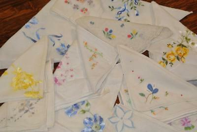 Lot Of 16 Vintage Embroidered Ladies Handkerchiefs/Hankies Hand Rolled Swiss