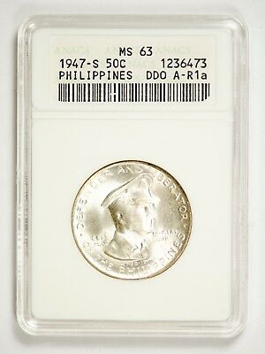 1947-S Philippine 50 Centavo ANACS MS63 - Doubled Die Obverse (A-R1a)