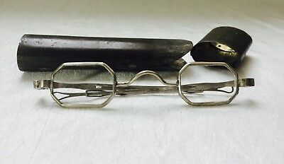 Antique SILVER Civil WAR FRANKLIN Look Spectacles 2 Piece Metal Case