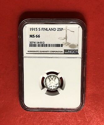 Finland -1915 S-Unc 25 Pennia ,certified By Ngc Ms66.very Nice Coin.