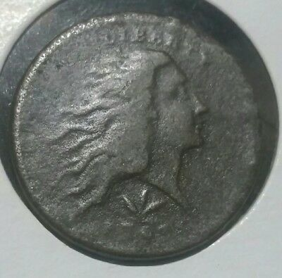 1793  1C Flowing Hair ,Wreath Reverse Large Cent. Lettered Edge.