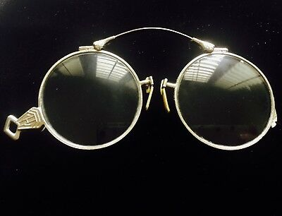 ANTIQUE GOLD Filled Pince Nez Folding SPECTACLES with POUCH Case