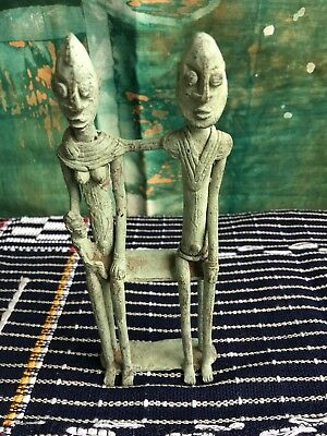 dogon bronze Statue Of Man and wife with child