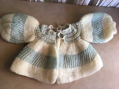 Antique estate 68 year old baby sweater hand knit ivory with blue puffy sleeves