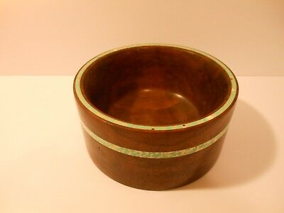 "Walnut Inlaid Bowl 5 1/2"" Diameter 2 3/4"" tall"