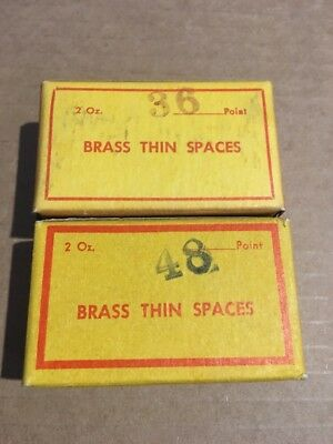 2 Boxes Vintage Letterpress Printing #36-#48 Point Brass Thin Spaces