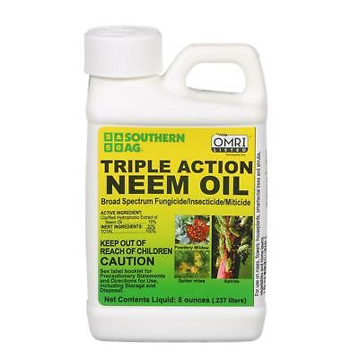 SOUTHERN AG 8 OZ TRIPLE ACTION NEEM OIL Organic Fungicide Miticide Insecticide