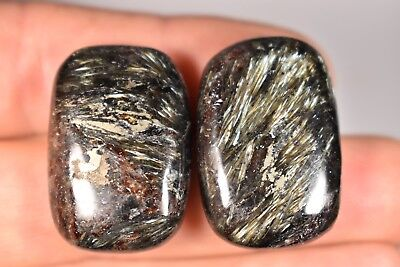 2 ASTROPHYLLITE PALM STONES 26g *PYRITE* Inclusions Healing Crystals