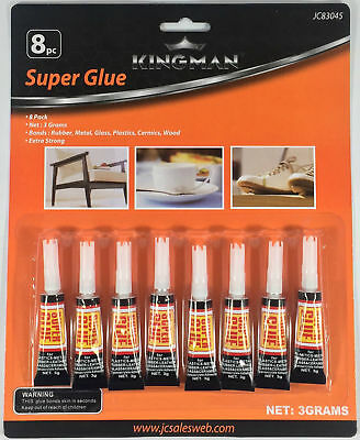 8 Tubes Super Glue  Strong Adhesive CYANOACRYLATE 3 grams Free Shipping