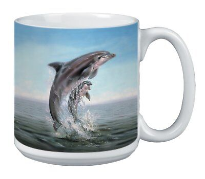 Dolphin Leaping Extra Large Mug, 20-Ounce Jumbo Ceramic Coffee Mug Cup,  Themed