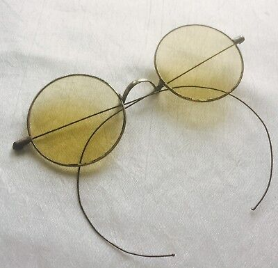 Antique Silver Tone Mellow Yellow Tinted Round Lens Eyeglasses with Case