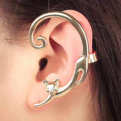 Fashion Women Cute Cat Clip Ear Cuff Stud Punk Wrap Cartilage Earring Jewelry