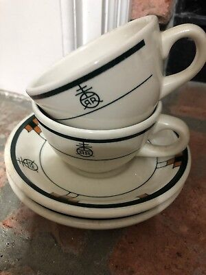 Roycroft Renaissance Coffee Cups and Saucers Buffalo China (Set of 2)