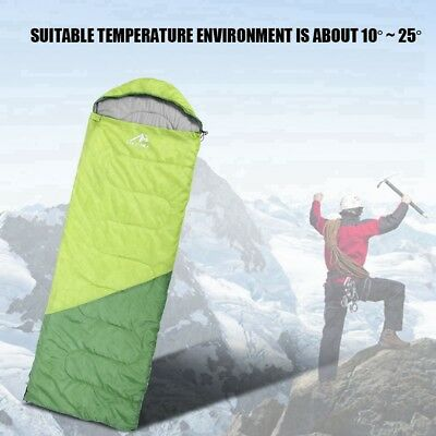 Single Camping Portable Waterproof Envelope Cotton Warm Sleeping Bag 210 x 70cm