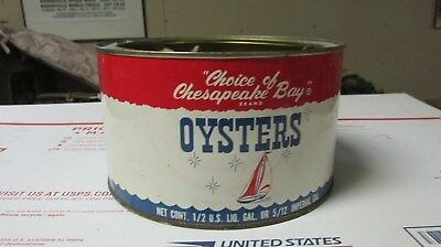 """""""Choice of Chesapeake Bay"""" Brand ( 1/2 Gal. size ) Oyster Can/Tin - Decent"""