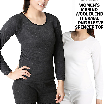 Ladies Merino Wool Blend Long Sleeve Thermal Spencer Top Underwear Thermals