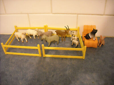 Lot Breyer Stablemate Sheep Goats Pigs Hay Bales Fencing Toy Farm Animal Playset