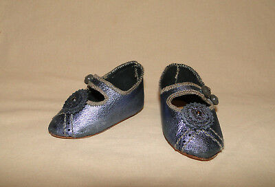 "Leather dark blue shoes French Jumeau style for antique doll 3""1/8 (or 80 mm)"