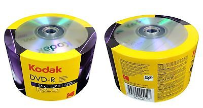 100 Kodak Blank DVD-R DVDR  16X Logo Branded 4.7GB 120Min Media Disc
