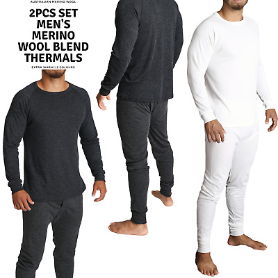 2pcs Set Men's Merino Wool Long Sleeve Thermal Top & Long Johns Pants Underwear