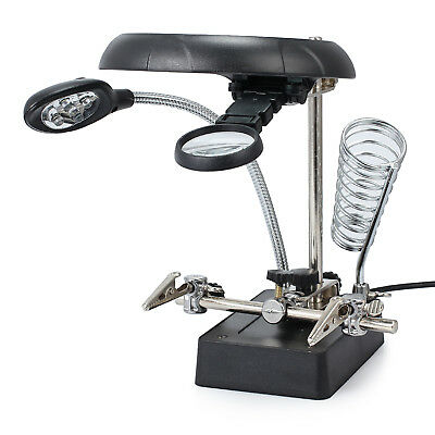 LED Soldering Iron Stand Helping Hands Magnifier Magnifying Glass Crocodile Clip