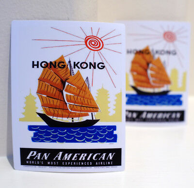 Hong Kong Ship Boat Duk Ling 鴨靈號 Pan Am airline Luggage Label Decal Sticker 3285