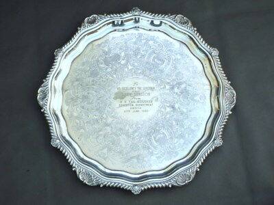 "Vintage silver plated 14"" tray decorative shell edges - Governor & Lady Renison"