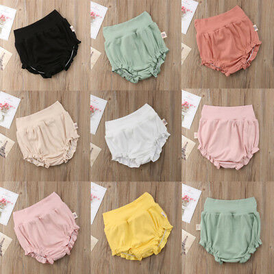 AU Stock Toddler Baby Girl Cotton Solid Shorts Pants Bloomers Diaper Nappy