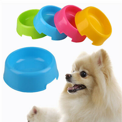 Pet Cat Dog Lovely Plastic Feed Drink Water Dish Food Dishes Bowl Travel*