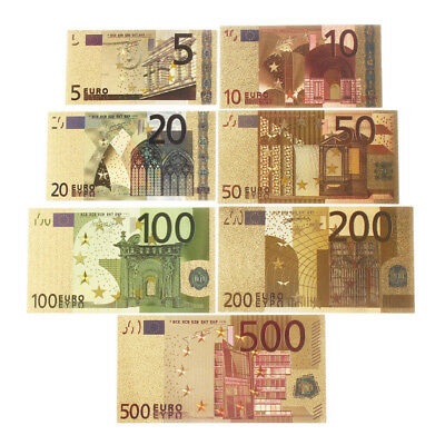 7pcs/set Euro Banknote Gold Foil Paper Money Craft Collection Currency 5-500 EUR
