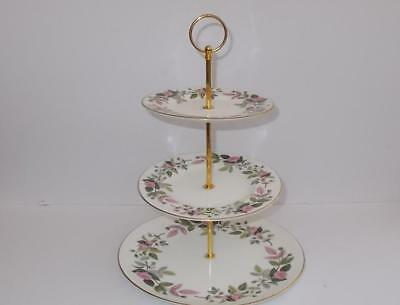 """Wedgwood """"Hathaway Rose"""" Gilded 3 Tier Cake/Afternoon Tea Stand."""