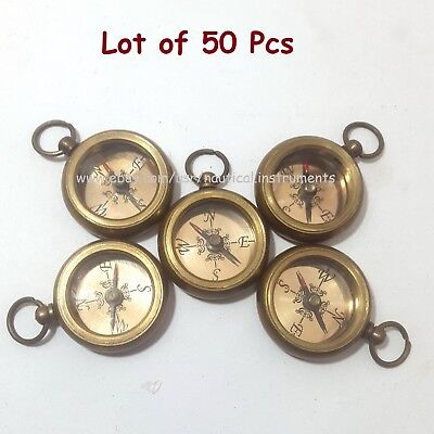 Brass Nautical Style Copper Dial Pocket Key Chain Compass (Lot Of 50 Pcs)