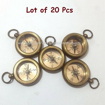 Brass Nautical Style Copper Dial Pocket Key Chain Compass (Lot Of 20 Pcs)
