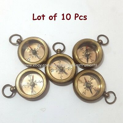 Brass Nautical Style Copper Dial Pocket Key Chain Compass (Lot Of 10 Pcs)