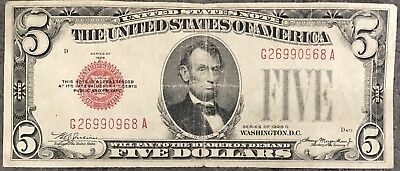 USA 5 Dollar United States Note Red Seal Series 1928 C Selten Banknote #8451