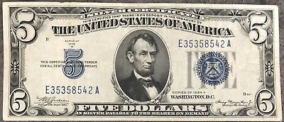 USA 5 Dollar Silver Certificate Blue Seal Series 1934 A Selten Banknote #8461