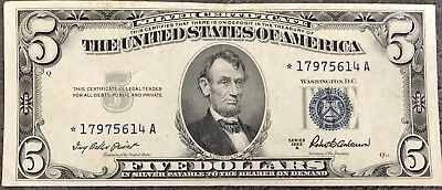 USA 5 Dollar Silver Certificate Series 1953 A Blue Seal STAR NOTE Banknote #8491