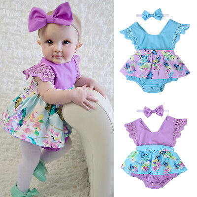 USSTOCK Baby Girl Kids Clothes Sleeveless Romper Dress Tutu Jumpsuit 2Pcs Outfit