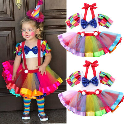 Toddler Kids Baby Girl Party Crop Top Tutu Skirt Dress Outfit Clothes Costume US