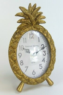 Clock Art Deco style Ornate Antique Gold Pineapple Mantle Mantel Freestanding