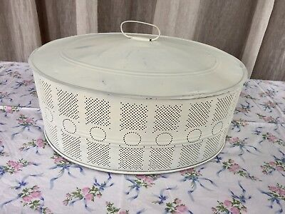 Vintage Perforated Metal Food Cover Cloche Dome French Country Prop Styling