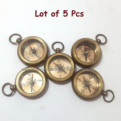 Brass Nautical Style Copper Dial Pocket Key Chain Compass (Lot Of 5 Pcs)