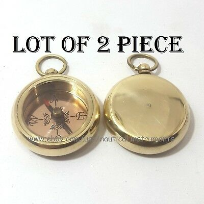 Brass Nautical Style Copper Dial Shiny Pocket Key Chain Compass (Lot Of 2 Pcs)
