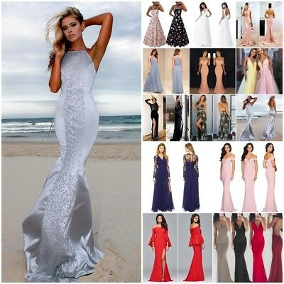 Womens Prom Evening Party Long Maxi Dress Ladies Wedding Bridesmaid Ball Gown