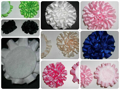 "Pack of 4 Felt Backed Satin Ribbon Peony Flowers Approx. 2"" 50mm diameter"