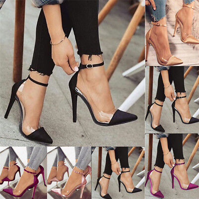 Sexy Women Stain&Perspex High Heels Shoes Ankle Strap Point-Toe stiletto Sandals