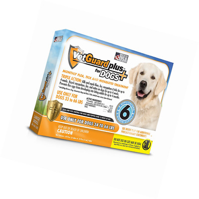 Vetguard Plus Large 34-66Lbs 6 Month Supply Flea And Tick Treatment For Dogs