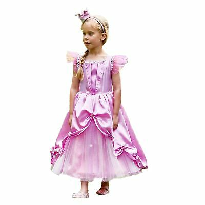 Kids Girls Fairytale Pink Royal Princess Fancy Dress Costume & Crown Accessory