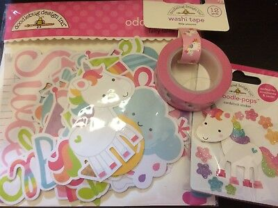 Doodlebug Fairy Tales Unicorn 3D sticker, Washi Tape, and Die Cuts Package